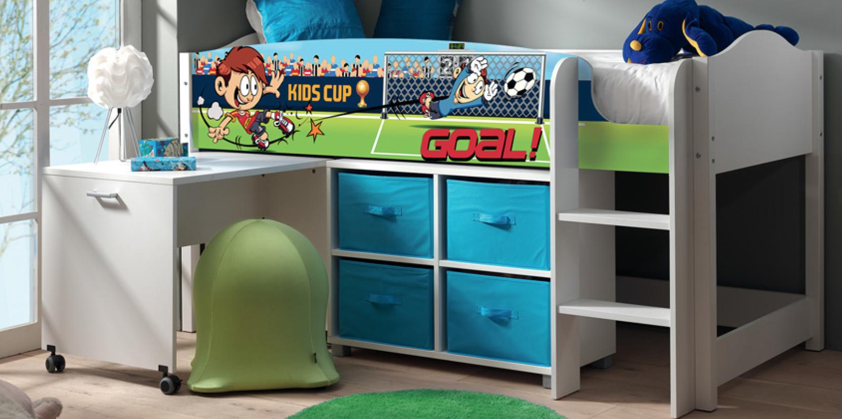 Halfhoogslaper met bureau lollipop met voetbal motief for Bureau rouge et blanc